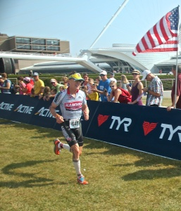 Greg Taylor strides to an age-group win at the USAT age-group nationals in Milwaulkee in August. Taylor also won best performance overall. Photo credits: Kristin Taylor
